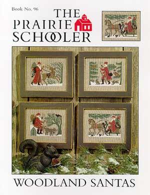 #96 Prairie Schooler - Woodland Santas-Prairie Schooler - Woodland Santas, Santa Claus, reindeer, forest, cross stitch, Christmas