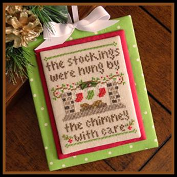 Country Cottage Needleworks - Classic Collection - 07 - By the Chimney-Country Cottage Needleworks - Classic Collection- By the Chimney, Christmas, Santa Claus, stockings, gifts, fireplace, Cross Stitch Pattern