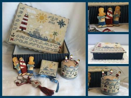 Mani di Donna - Mermaid's Song Sewing Box-Mani di Donna - Mermaids Song Sewing Box, lighthouse, needlebook, ocean, sea,sewing box, mermaids, cross stitch