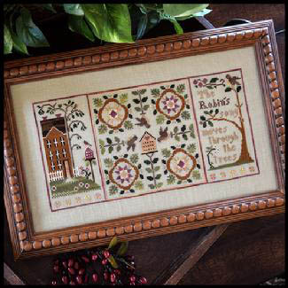 Little House Needleworks - Robin's Song - Cross Stitch Pattern-Little House Needleworks, Robin's Song,house, bird house, trees, singing, sampler, Cross Stitch Pattern