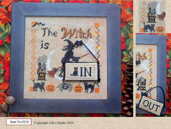 Lila\'s Studio - The Witch - Cross Stitch Pattern-Lila's Studio, The Witch, Halloween, door sign, pumpkins, black cats, bats, witches broom, haunted house,  Cross Stitch Pattern