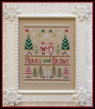 Country Cottage Needleworks - Merry and Bright-Country Cottage Needleworks - Merry and Bright, Christmas, Santa Claus, Mrs. Claus, sampler, Christmas trees, Christmas lights, cross stitch,