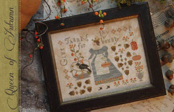 With Thy Needle & Thread - Queen of Harvest-With Thy Needle  Thread - Queen of Harvest, pumpkins, crow, fall, cross stitch