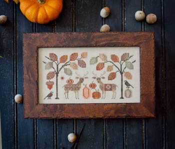 Plum Street Samplers - Deer Friends-Plum Street Samplers - Deer Friends, fall, Hoffman Distributings 30th Anniversary, pumpkins, deer, forest, crow, cross stitch,