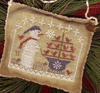 Homespun Elegance - 2015 Snowman Ornament - Snow Birds in Tow-Homespun Elegance - 2015 Snowman Ornament - Snow Birds in Tow, ornament, birds, snowman, wagon, Christmas, cross stitch