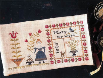 Stacy Nash Primitives - Mary's Work Sampler Bag-Stacy Nash Primitives - Marys Work Sampler Bag, samplers, primitive, sewing bag, cross stitch