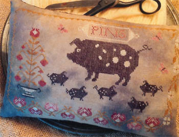 Stacy Nash Primitives - Spotted Pig Pinkeep-Stacy Nash Primitives - Spotted Pig Pinkeep, pigs, pincushion, baby pigs, mama pig, bacon, primitive, cross stitch