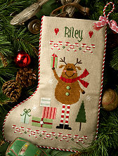 Lizzie Kate - Reindeer Stocking-Lizzie Kate, Reindeer Stocking,Christmas stocking, rudolph the Red Nosed Reindeer, Santa Claus,  Cross Stitch Pattern