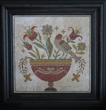 La-D-Da - Fraktur Flowers-La-D-Da - Fraktur Flowers, primitive, country, folk, birds, cross stitch