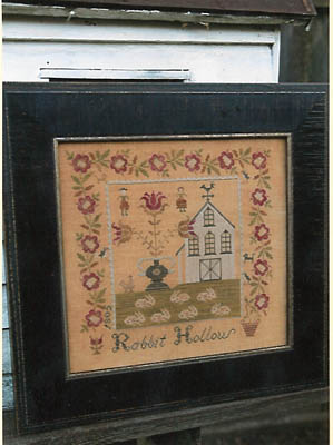 Stacy Nash Primitives - Rabbit Hollow Farm Sampler-Stacy Nash Primitives - Rabbit Hollow Farm Sampler, bunnies, farm house, animals, country home, cross stitch