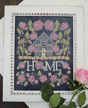 Hands On Design - Chalk for the Home - Rose Cottage-Hands On Design - Chalk for the Home - Rose Cottage, flowers, chalk, black linen, cross stitch