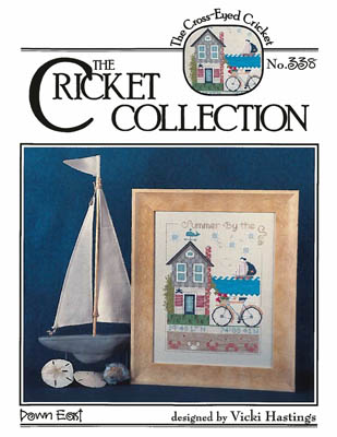 Cross-Eyed Cricket - Down East-Cross-Eyed Cricket - Down East, sailing, summertime, ocean, sailboat, cottage, whale, cross stitch