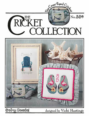 Cross-Eyed Cricket - Going Coastal-Cross-Eyed Cricket - Going Coastal, beach chair, cross stitch, flip flops, flamingos,