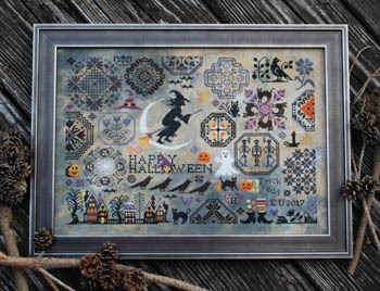 Lila's Studio - Halloween Quaker-Lilas Studio - Halloween Quaker, Halloween, witch, black cats, haunted house, pumpkin, cross stitch