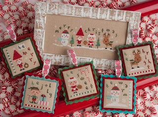 Lizzie Kate - Tiny Tidings XXI-Lizzie Kate - Tiny Tidings XXI, Christmas, ornaments, Santa Claus, Elf, Mrs. Claus, Rudolf, snowman, cross stitch