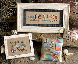 Lizzie Kate - Red White and Beach-Lizzie Kate - Red White and Beach Chartpak, BEACH, SAND, SUMMER,SAILBOATS, CROSS STITCH