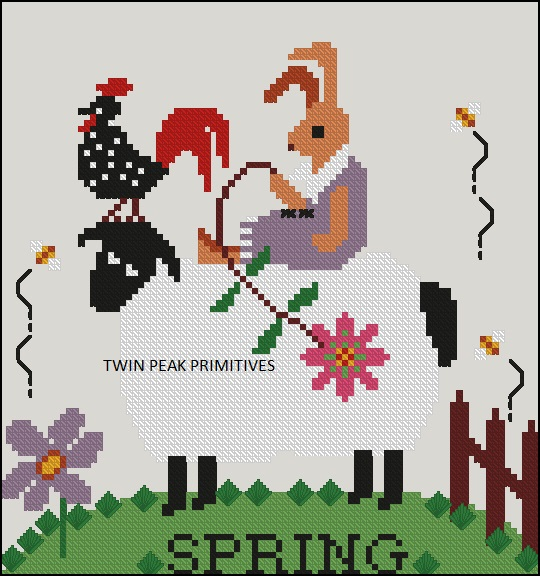 Twin Peak Primitives - Spring Sheep-Twin Peak Primitives - Spring Sheep, springtime, bunny, flowers, sheep, cross stitch