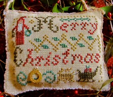 Homespun Elegance - 2014 Sampler Ornament - Merry Christmas Wishes - Cross Stitch Pattern