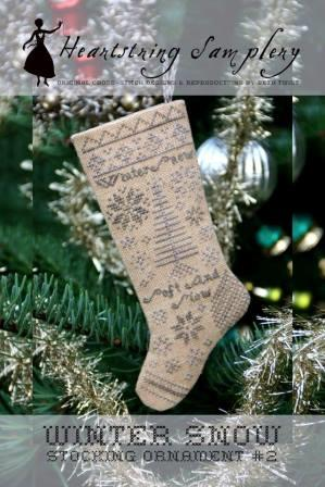 Heartstring Samplery - Stocking Ornament #2 - Winter Snow-Heartstring Samplery - Stocking Ornament 2 - Winter Snow, Christmas tree ornament, cross stitch, snow, decorating,