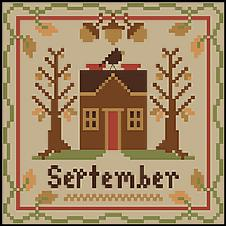 Little House Needleworks - Sampler Months - September & October Thread Packs-Little House Needleworks - Sampler Months - September  October Thread Packs, school, fall, apples, pumpkins, cross stitch, calendar