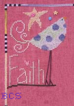 SamSarah Design Studio - The Flock - Part 001 of 12 - Blue Polka Dot Bird - Cross Stitch Pattern