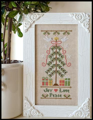 Country Cottage Needleworks - Joy Love Peace-Country Cottage Needleworks - Joy Love Peace, Christmas, Christmas tree, gifts, ornaments, cross stitch