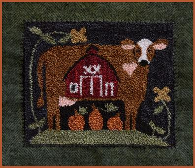 Little House Needleworks - Down on the Farm - Punch Needle-Little House Needleworks - Down on the Farm - Punch Needle, bessie, cow,