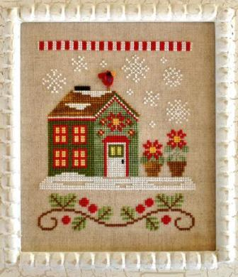 Country Cottage Needleworks - Santa's Village - Part 02 - Poinsettia Place-Country Cottage Needleworks, Santas VillagePoinsettia Place, flowers, franks cardinal, red bird, christmas flowers, santa claus, Cross Stitch Pattern