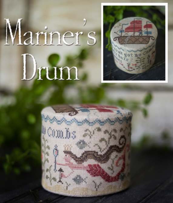 Plum Street Samplers - Mariner's Drum-Plum Street Samplers - Mariners Drum, mermaid, pin keep, ocean, ship, cross stitch,