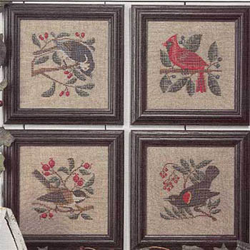 Prairie Schooler - Birds & Berries-Prairie Schooler - Birds  Berries, bird, winter, trees, cross stitch