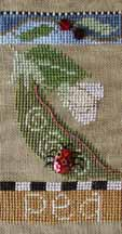 SamSarah Design Studio - Farmer's Market Veggie Stand Banner - Chart 3 of 6 - Fresh Peas - Cross Stitch Pattern