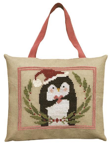 Artful Offerings - Pinny Penguin's Heart of Christmas-Artful Offerings - Pinny Penguins Heart of Christmas, ornament, penguin, Christmas, cross stitch