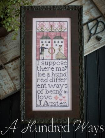 Plum Street Samplers - A Hundred Ways-Plum Street Samplers - A Hundred Ways, Jane Austin, poem, love, cross stitch