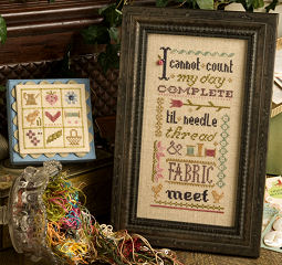 Lizzie Kate - Inspiration Boxer - I Cannot Count My Day Complete Until Needle and Thread Meet - Cross Stitch Kit