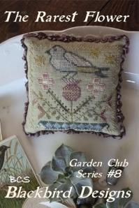 Blackbird Designs - Garden Club Series Part 08 - The Rarest Flower-Blackbird Designs - Garden Club Series Part 8 - The Rarest Flower, flowers, cross stitch, bluebird