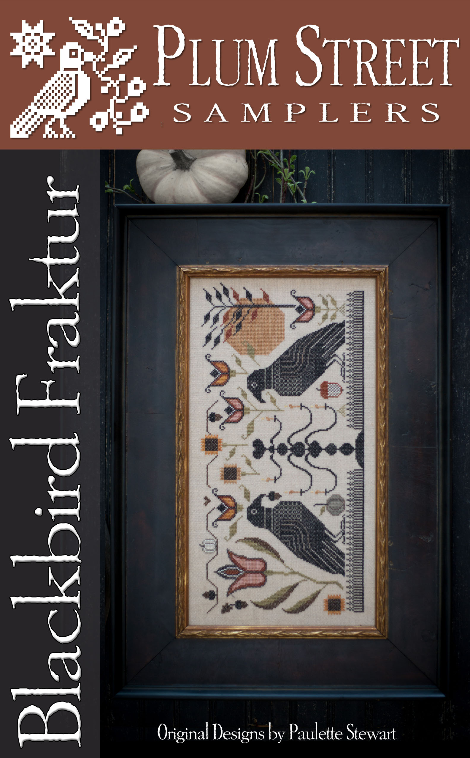 Plum Street Samplers - Blackbird Fraktur-Plum Street Samplers - Blackbird Fraktur, primitive, birds, fold, cross stitch