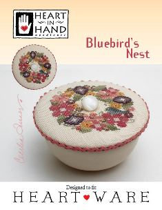 Heart in Hand Needleart - Bluebird's Nest-Heart in Hand Needleart -  Bluebirds Nest, flowers, bluebird, bowl, cross stitch