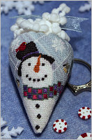 Erica Michaels Needleart Designs - Brrberry - Silk Berry-Erica Michaels Needleart Designs - Brrberry, silk berry,  snowman, pincushion, winter, silk gauze, cross stitch