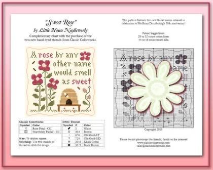 Little House Needleworks - Sweet Rose - Free Chart with thread purchase