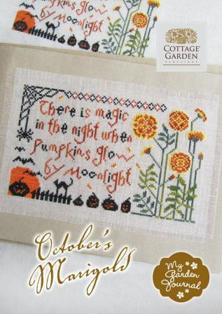 Cottage Garden Samplings - My Garden Journal - Part 10 of 12 - October's Marigold - Cross Stitch Pattern