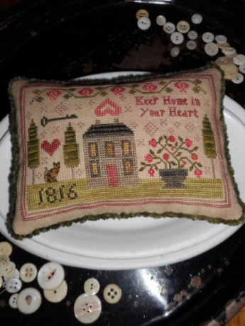 Chessie & Me - Keep Home in Your Heart-Chessie  Me - Keep Home in Your Heart, house, family, pin cushion, cross stitch
