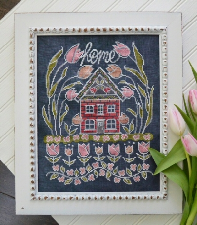 Hands On Design - Chalk for the Home - Tulip House-Hands On Design - Chalk for the Home - Tulip House, chalkboard, floss, flowers, decorating, cross stitch