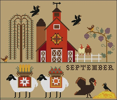 Twin Peak Primitives - Heroic Ewes Harvesting-Twin Peak Primitives - Heroic Ewes Harvesting,  sheep, harvest, wheat, farm, cross stitch