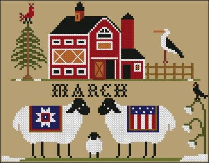 Twin Peak Primitives - Heroic Ewes Have a Baby-Twin Peak Primitives - Heroic Ewes Have a Baby, March, sheep, farm, cross stitch