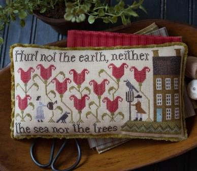 Plum Street Samplers - Hurt Not the Earth-Plum Street Samplers - Hurt Not the Earth, gardening, John  Abigail, sampler, cross stitch