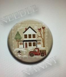 Stitch Dots - Farmhouse Christmas - Grandpa's Pickup Needle Nanny by Little House Needleworks-Stitch Dots - Farmhouse Christmas - Grandpas Pickup Needle Nanny by Little House Needleworks, magnet, needles, cross stitch, red truck,