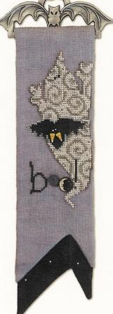 Just Another Button Company - Boo Friends - Art To Heart - Cross Stitch Pattern with Buttons