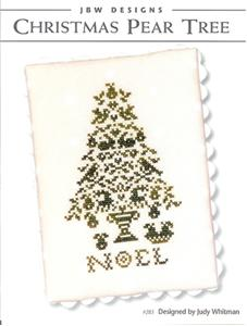 JBW Designs - Christmas Pear - Cross Stitch Pattern-JBW Designs, Christmas Pear, partridge in a pear tree, Christmas tree, noel, Cross Stitch Pattern