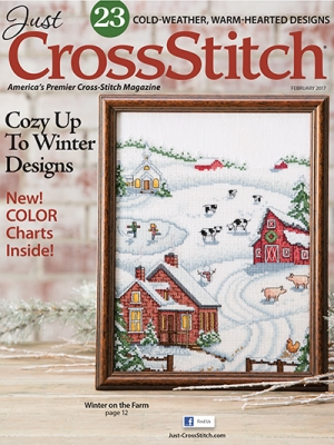 Just Cross Stitch - 2017 #1 January/February-Just Cross Stitch - 2017 1 JanuaryFebruary, winter, magazine, snow, cross stitch