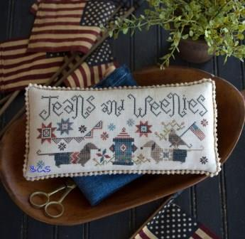 Plum Street Samplers - Jeans & Weenies-Plum Street Samplers - Jeans  Weenies, Dachshund, weenie dogs, dogs, pincushion, fire hydrant, American flag, cross stitch